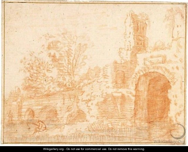 River Landscape With A Fisherman By A Partially Ruined Bridge - (after) Jan Weenix