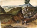 Hilly Landscape With Rocks And Two Figures With A Horse - Flemish School