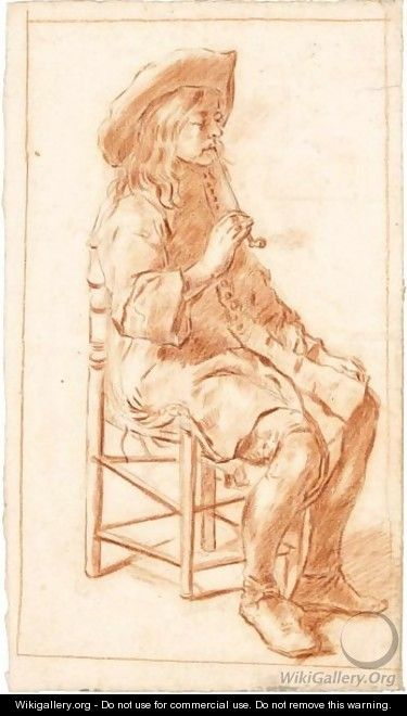 A Seated Man In A Hat, Smoking A Pipe - Dutch School