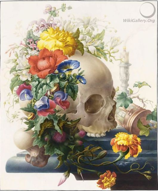 Vanitas Still-Life, With A Skull Wreathed With Flowers And A Candle And An Hour-Glass On A Stone Ledge - Herman Henstenburgh