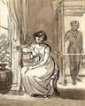 Interior With A Young Woman Seated On A Chair And A Man Entering The Room - Thomas Stothard