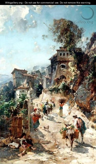 Italian Peasants On The Way To The Market - Franz Theodor Aerni