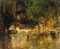 Sketch Of Paris By Night With Promenading Couple - Konstantin Alexeievitch Korovin
