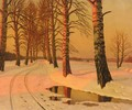A Pair Of Winter Landscapes - Mikhail Markianovich Germanshev