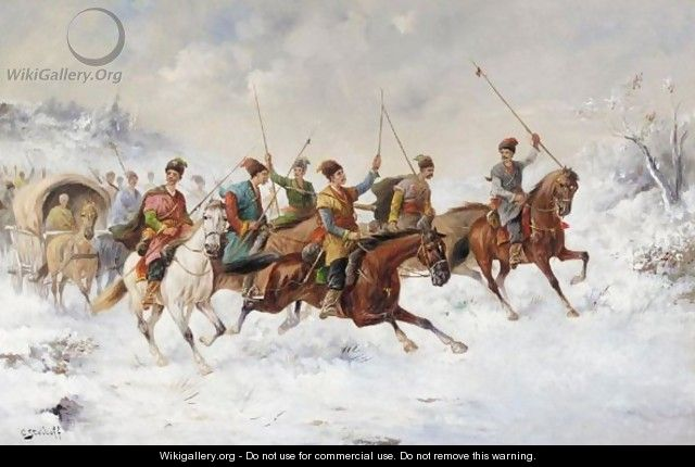 Cossack Cavalry Charge Through Snow - Konstantin Stoilov