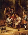 Figures Drinking And Gambling In A Courtyard - Gillis van Tilborgh