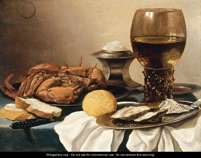 Still Life Of A Crab On A Pewter Plate, A Salt-Cellar, A Roemer, A Knife, A Lemon And Two Oysters On A Pewter Plate, All Resting On A Draped Table - Pieter Claesz.