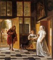 A Woman Receiving A Man At A Door - (after) Pieter De Hooch