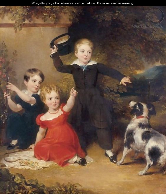 Portrait Of Three Children In A Landscape With A Dog - John Wood
