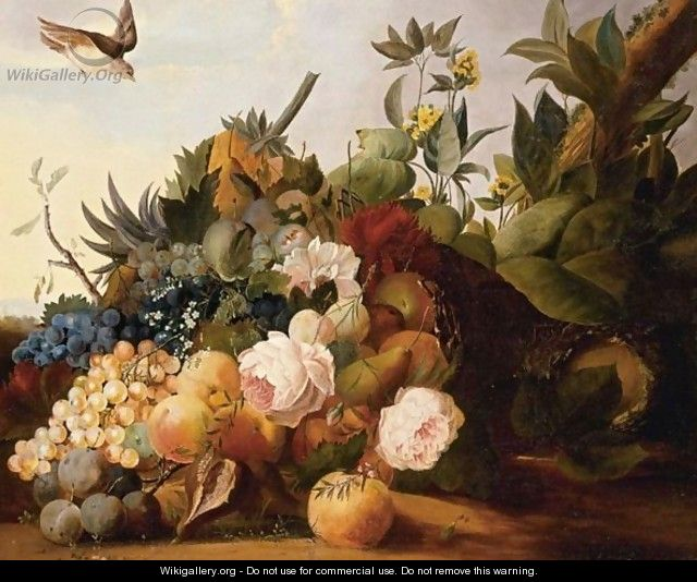 Still Life Of Fruit And Flowers In A Landscape - Louis Vidal