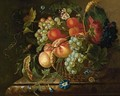 Still Life Of Fruit And Flowers In A Basket Resting On A Marble Ledge, With A Butterfly And A Snail - Dutch School