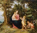 Virgin And Child With Two Angels In A Landscape - (after) Jan, The Younger Brueghel