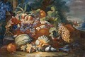 Still Life Of Melons, Grapes, Peaches And Other Fruit In A Landscape - Maximilian Pfeiler