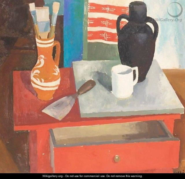 Still Life With Paintbrushes And Spatula - Karoly Patko