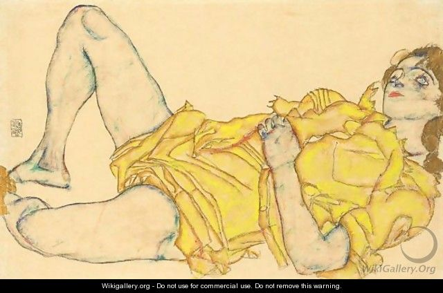Liegende Frau In Gelbem Kleid (Reclining Woman In Yellow Dress) - Egon Schiele