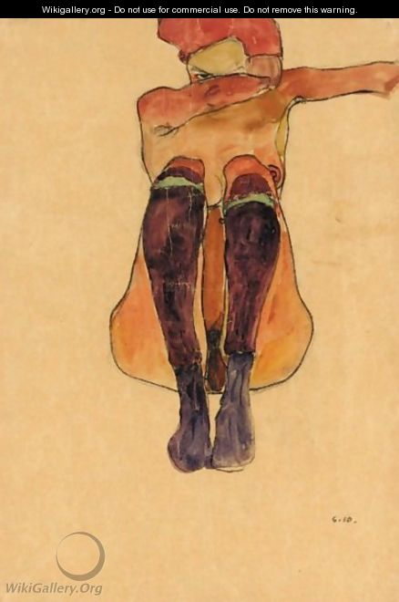 Sitzender Akt Mit Lila Strumpfen (Seated Nude With Violet Stockings) - Egon Schiele