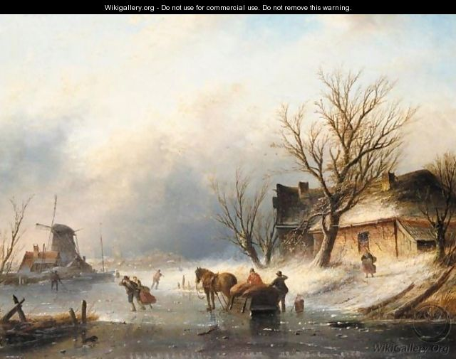 Figures Skating On A Frozen River Near A Windmill - Jan Jacob Coenraad Spohler