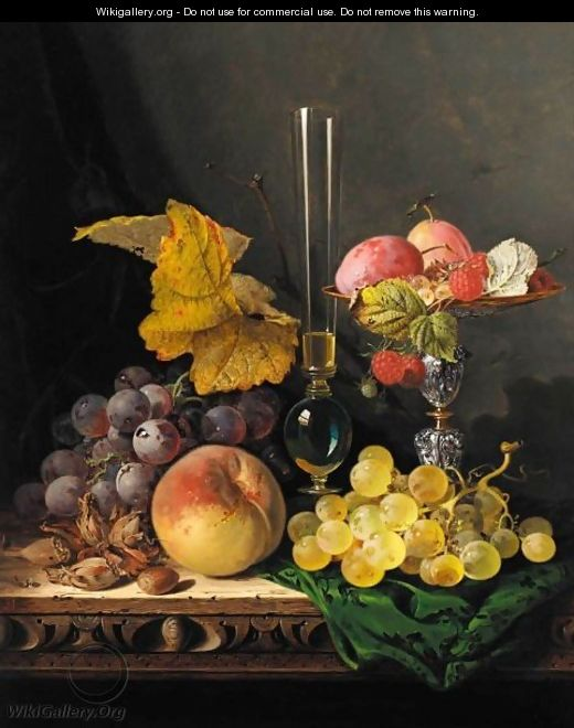 Still Life With Peaches Grapes Hazelnuts Raspberries And Plums With A Wine Glass - Edward Ladell