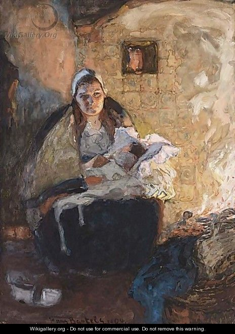 Dutch Mother And Child In A Fire Lit Interior - Hans Von Bartels