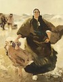 A Dutch Fisherwoman With Child On The Beach - Hans Von Bartels