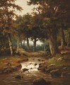 A Wooded Landscape With A Deer Nearby A River - Hendrik Pieter Koekkoek