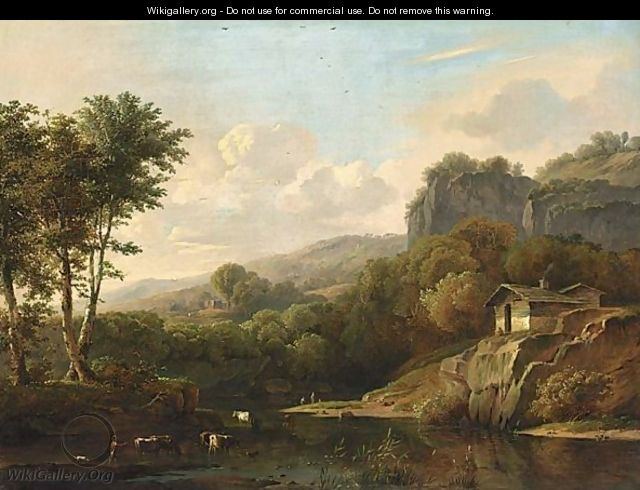 A Mountainous Landscape With Cattle Bathing - Adolf Karel Maximiliaan Engel