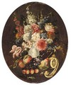 A Still Life With Various Flowers In A Porcelain Vase, Together With Apples, Grapes, Cherries, A Pear And A Lemon - North-Italian School