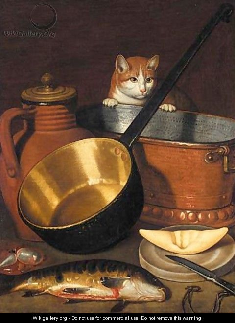 A Kitchen Still Life With A Saucepan, A Winecooler, And A Jug, Together With A Cat And A Fish - School Of Strasbourg