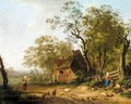 A Wooded Landscape With A Shepherd And Shepherdess Resting Beside A Track - Dutch School