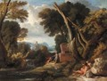 A Classical Landscape With Figures Resting Beside A River - (after) Jan Frans Van Orizzonte (see Bloemen)