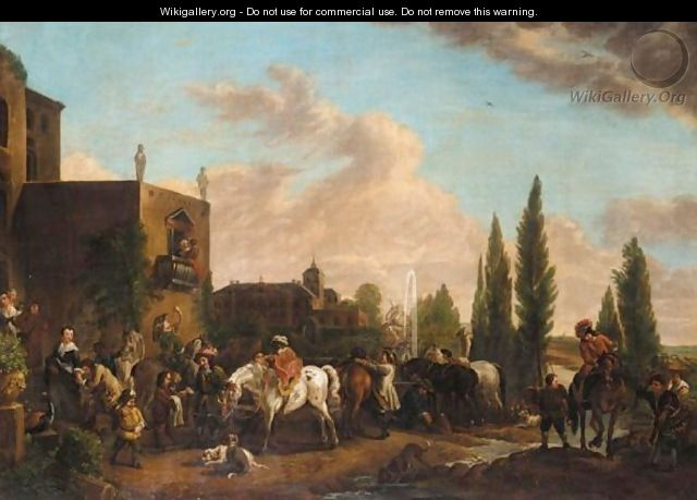 An Elegant Company Resting From A Hunt Before A Palace - (after) Phillips Wouwermans