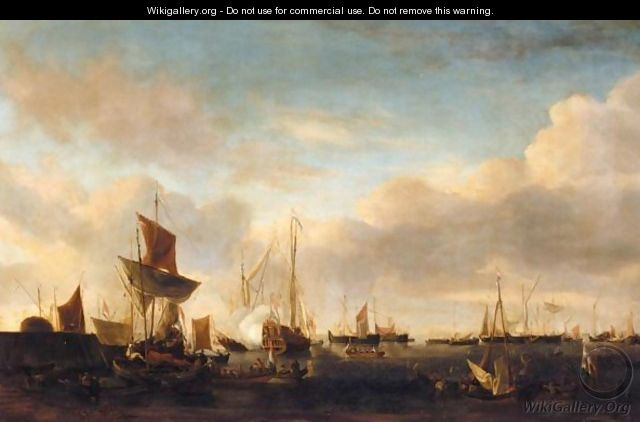 A Port Scene With Dutch Vessels At The End Of A Pier With Yachts And Other Small Vessels Offshore - Peter van den Velde