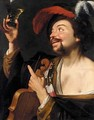 A Merry Violinist Holding A Roemer - (after) Honthorst, Gerrit van