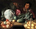 A Still Life With Marrows, Cabbages, An Artichoke, Baskets Of Apples And Lemons, Together With A Boy Holding A Bunch Of Grapes - (after) Willem Eversdijck