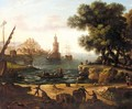 A Mediterrenean Harbour Scene - (after) Claude Lorrain (Claude Gellee)