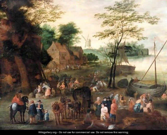 A River Landscape With A Fish Market - (after) Jan The Elder Brueghel