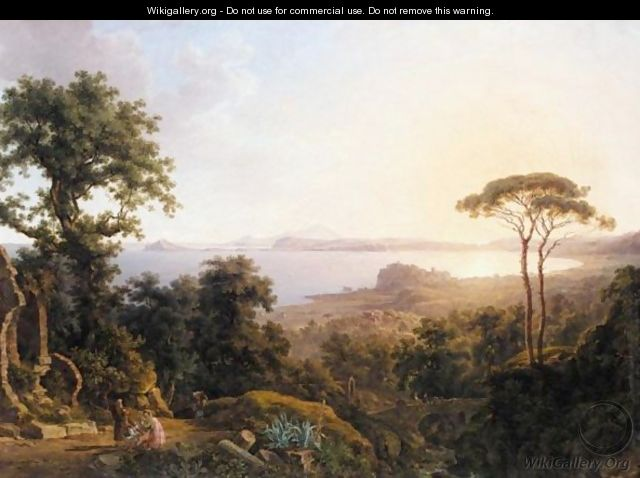 A View Of The Bay Of Baia Near Naples, With The Town Of Pozzuoli On The Coast - Wilhelm Jakob Huber