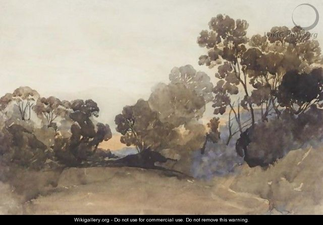Wooded Landscape At Sunset - John Joseph Cotman