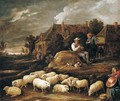 A Shepherd Tending His Sheep And Conversing With A Traveller At The Edge Of A Village, A Boy Collecting Water In The Foreground - David The Younger Teniers