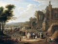 A River Landscape With Orientals And Locals Conversing Before A Set Of Ruins - Mathys Schoevaerdts