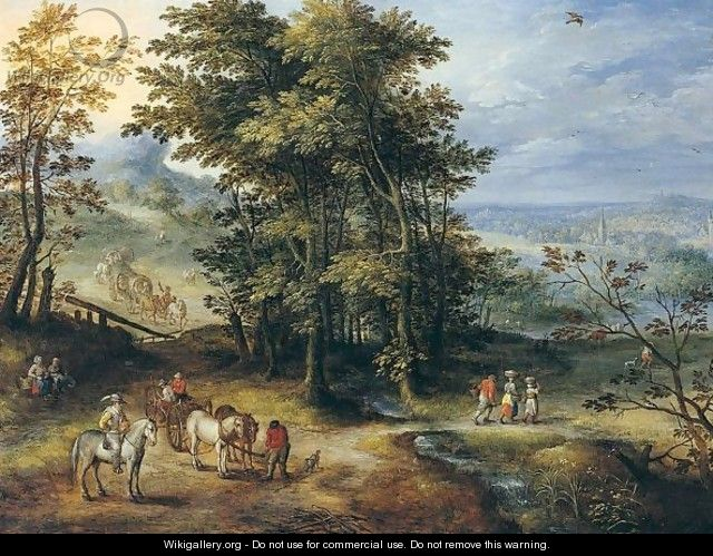 An Extensive Wooded Landscape With Travellers On A Path - Joseph van Bredael