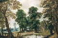 Wooded Landscape With Figures Passing Through A Village - (after) Adriaen Van Stalbemt