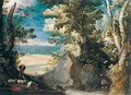 A Wooded Landscape With A Herdsman Tending Goats In The Foreground, A View Of A Town In The Distance - (after) Paul Bril