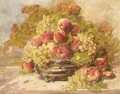 Still Life Of Peaches And Grapes - Georges Jeannin