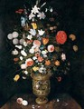 Still Life Of Roses, Daffodils, Carnations, Snake-Head Fritillaries, Irises And Lilies In A Sculpted Parcel-Gilt Vase, Upon A Stone Ledge - Jan, the Younger Brueghel