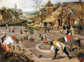 Spring Gardeners Digging And Planting A Formal Garden - Pieter The Younger Brueghel