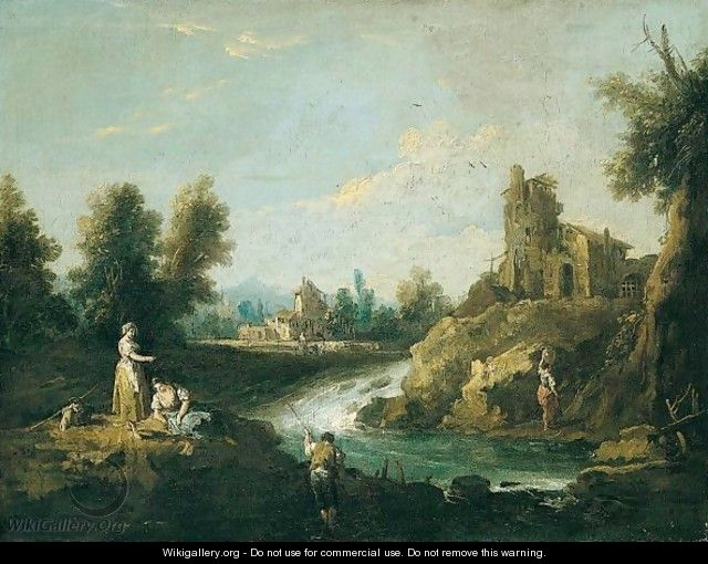 A River Landscape With A Fisherman And Women In The Foreground, A Woman Carrying Water Towards A House Beyond - Giuseppe Zais