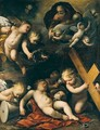 The Sleeping Christ Child, God The Father, And Putti With The Instruments Of The Passion - Carlo Francesco Nuvolone