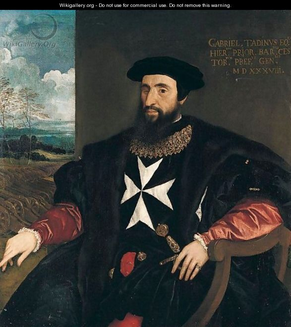 Portrait Of Gabriele Tadino (1480-1544), Three-Quarter Length Seated, Wearing The Robes Of The Order Of The Knights Of Malta, A Landscape With Cannons Beyond - (after) Tiziano Vecellio (Titian)