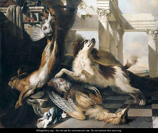 Still Life Of A Spaniel Guarding A Bittern, Partridge, Hare And A Pigeon, Together With Hunting Equipment, Arranged Within A Classical Setting - Jan Baptist Weenix